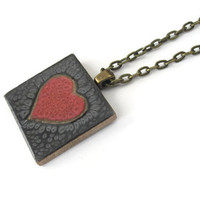Red Heart Pendant Necklace, hand painted wooden tile pendant with metallic red heart on black background, antiqued brass necklace