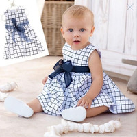 Baby 0-3Y Toddler Girl Kids One Piece Dress Cotton Top Bow-knot Plaids Outfits