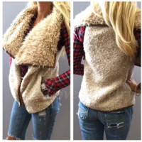 Autumn and winter irregular plush vest vest
