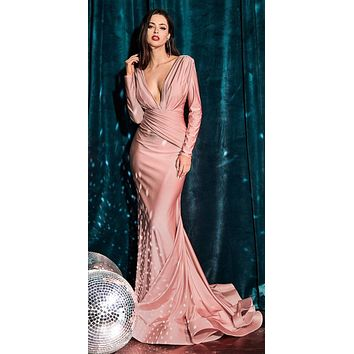 Fitted Jersey Dusty Rose Gown Long Sleeves Open Back Gathered Waistband