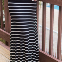 Daydream Believer Black And Ivory Striped Maxi Skirt