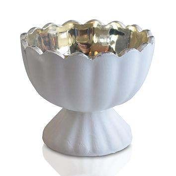 Vintage Mercury Glass Candle Holder (3-Inch, Suzanne Design, Sundae Cup Motif, Antique White) - For Use with Tea Lights - Home Decor and Wedding Decorations