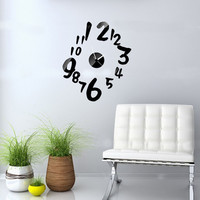Mirror Wall Sticker Home Decor Clock [4918605828]