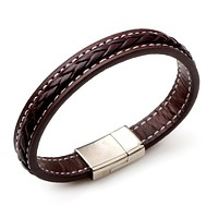 Mens Brown Leather and Braided Bracelet