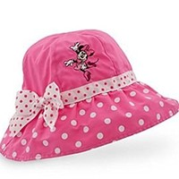 Minnie Mouse Girls Pink Polka Dot Sun Hat (Girls Large 5-7 years)