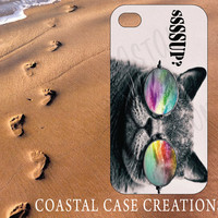 Apple iPhone 4 4G 4S 5G Hard Plastic Cell Phone Case Cover Original Trendy Stylish Cat Galaxy Quote Design