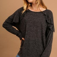 Ruffle My Feathers Top - Charcoal Gray