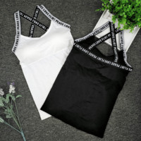 Sexy Strap Monogram Print Sports bras with chest pads Vest