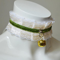 Kittenplay bdsm proof collar - Golden apple -  white and green - ddlg princess lolita petplay kink choker with bell - kitten play gear