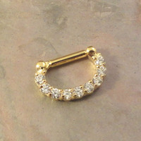 16 Gauge Gold and CZ Septum Ring Clicker Bull Ring Nose Piercing
