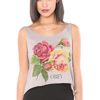 Obey Tank Bed of Roses Broket in Zinc Heather Gray