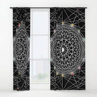 Geometric Circle Black/White/Colour Window Curtains by Fimbis