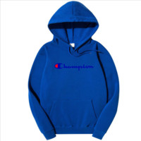Champion Winter Tide brand men's and women's style printing plus velvet hoodie sweater F0278-1 blue