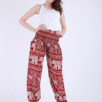 Red elephant pant print comfortable trousers, hippie pants, thailand hippie, hippie, elephant pants