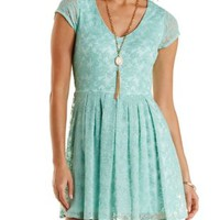 Cap Sleeve Lace Skater Dress by Charlotte Russe