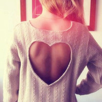 Womens Heart-shaped Hollow Out Backless Sweater Long Sleeve Pullover Coat Winter Spring Gift-92