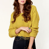 Obey Day Tripper Yellow Cropped Sweater