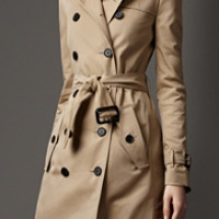 Mid-Length Wool-Lined Trench Coat