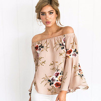 Simplee Off the Shoulder Peach Floral Chiffon Blouse Top with Bell Sleeve