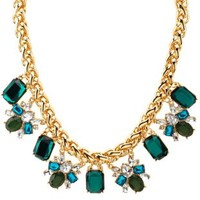 Gold Faceted Stone Statement Necklace by Charlotte Russe