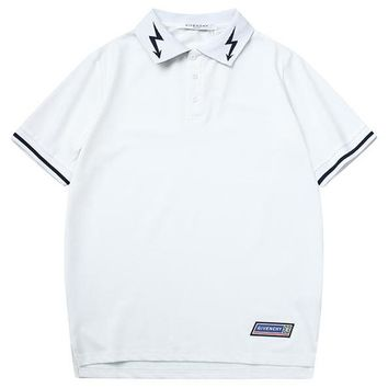 GIVENCHY 2019 new men's breathable POLO shirt lapel half-sleeved T-shirt white