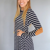 Navy Stripe Patch Dress