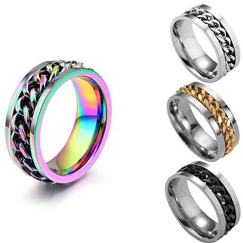 2020 Cool Man Punk Stainless Steel Spinner Chain Ring Handsome Band Wedding Rings