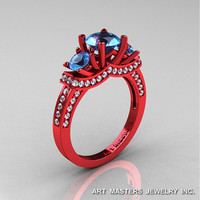 Exclusive French 14K Red Gold Three Stone Blue Topaz Diamond Engagement Ring R182-14KRGDBT
