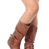 Cognac Faux Leather Calf Length Buckled Up Boots