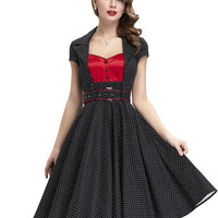 Women Summer style Polka Dot Dress with belt 2017 Casual Party Tunic Elegant Office wear to Work Vintage 50s 60s Swing Dresses