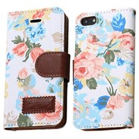 OOOUSE Flower and Deluxe Book Style Folio PU Leather Wallet with Magnet Design Flip Case Cover, Credit Card Holder for iPhone 5 / 5S(White)