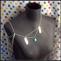 silver feather body chain by alapopjewelry on Etsy
