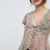 Reclaimed Vintage Inspired Floral Chiffon Tie Front Blouse at asos.com