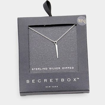 Secret Box _ Sterling Silver Dipped Irregular Pointed Bar Pendant Necklace