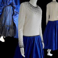 Amen Wardy Designer Formal  Dress circle Skirt Lavish Hand beaded Top Silk LS Evening Drop Waist  LS Cobalt blue skirt