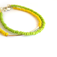 Yellow and green summer skinny bracelet, seed bead stacking bracelet, silver plated tube bracelet, set of 2
