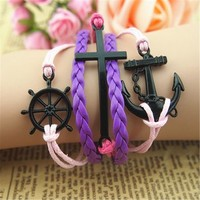 MagicPieces Anchor Braid Cross Helm 5 Layers Purple and Pink Handmade MultiLayered Bracelet For Women's Teens Friendship Birthday Gift