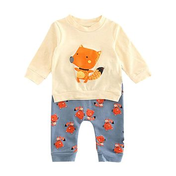 Kids Baby clothes set Newborn Infant Baby Boy Girl Fox Pullover Sweatshirt Tops+Pants Outfits Set drop shipping