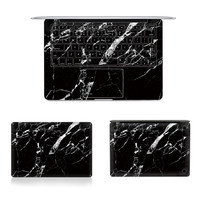 """Laptop Full Vinyl Decal Top Bottom and Keyboard Side Black Marble Texture Sticker Skins For Macbook Air Retina Pro 11""""12""""13""""15"""""""