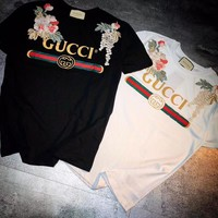 Gucci Women Embroidery Print Simple T-shirt