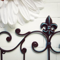 Fleur De Lis Decor / Metal Wall Hanger / Wall Hook / Brown Home Decor / Towel Rack / Coat Hook / Shabby Chic / French Country