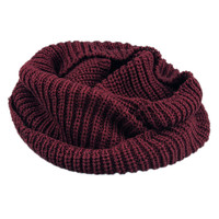 Burgundy Knit Funnel Scarf