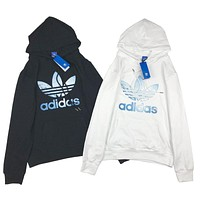Adidas New fashion letter leaf print couple hooded long sleeve sweater top