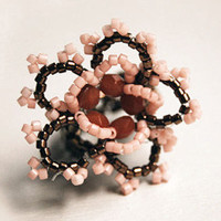 Beaded stretch ring ruffle rose romantic pink cherry and bronze brown