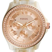 Women's Fossil 'Cecile' Crystal Bezel Resin Bracelet Watch, 40mm