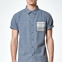 Contrast Pocket Short Sleeve Button Up Shirt