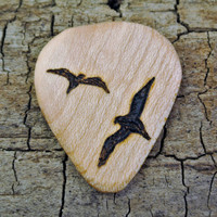 ONE ENGRAVED Wooden Guitar Pick - Birds Design or Other Designs Available