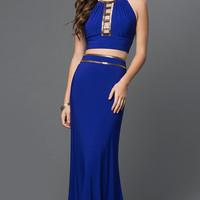 Royal Blue Two Piece Cut-Out Dress with Beaded Details