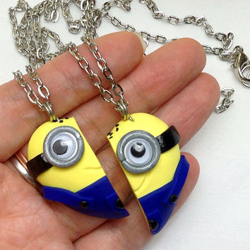 GUO GUO'S- Despicable Me movie / Minion Heart Necklace / Googly Eyes Minion / Friendship BFF Set / Brooch / Key Chain / Made to order