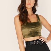 Velour Crop Tank Top